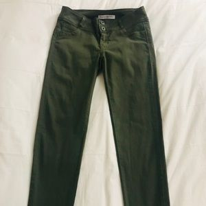 Mid rise army green jeans